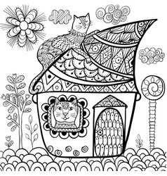 fantasy cat house coloring page vector image