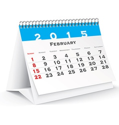 February 2015 desk calendar - vector image