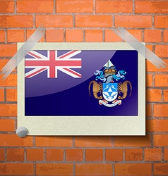 Flags Tristan da Cunha scotch taped to a red brick vector
