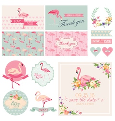 Flamingo Party Set - for Wedding Bridal Shower vector