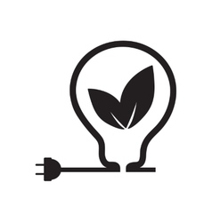 Flat icon in black and white eco light bulb vector