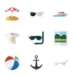 flat icon summer set of spectacles parasol scuba vector image