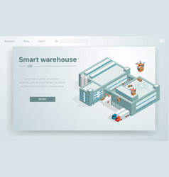 Flat smart warehouse at huge building vector