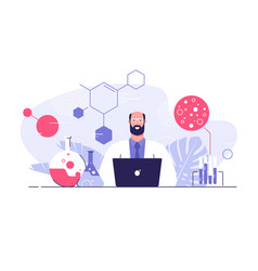 flat style a scientist with vector image