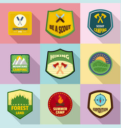 Forestry icons set flat style vector