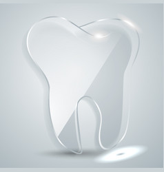 glass plate in form a tooth logo dental vector image