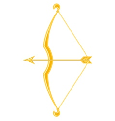 Gold bow and arrow vector