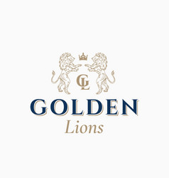 Golden lions abstract sign symbol or logo vector