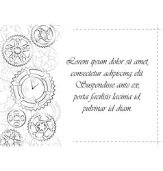 greeting postcard with gears and clock vector image