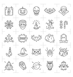 halloween icon set thin line art halloween icons vector image