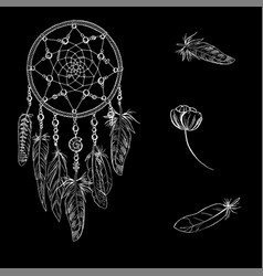 Hand drawn ornate dreamcatcher with feathers vector