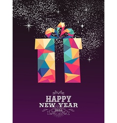 Happy new year 2016 gift triangle hipster color vector image