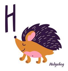 Hedgehog animal alphabet learning letter h h vector