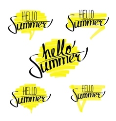 Hello Summer Letterings Set vector image