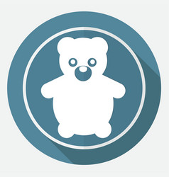 icon teddy bear toy on white circle with a long vector image