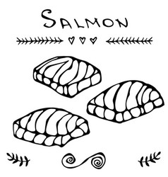 Image steak of red fish salmon for seafood menu vector