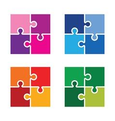 Jigsaw colourful set vector