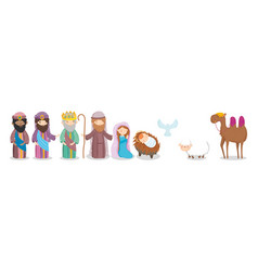 Joseph mary bawise men camel sheep pigeon crib vector