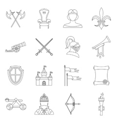 Knight medieval icons set outline style vector