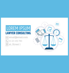 Lawyer consulting justice scales a business card vector