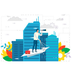 Leader on paper plane in city business ambitions vector