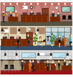 legal trial concept flat poster set vector image