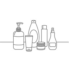 line icons cosmetics various shapes vector image