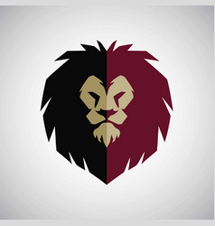 lion head mascot logo flat design vector image