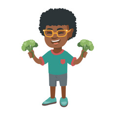 little african boy laughing and holding broccoli vector image
