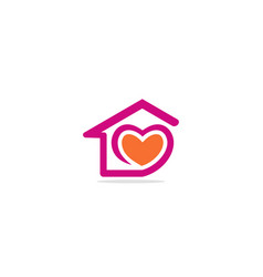 Love heart house valentine logo vector