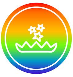 Magical flower circular in rainbow spectrum vector