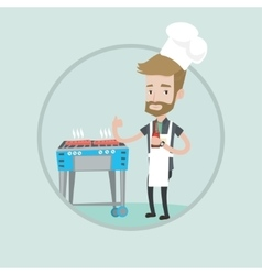 Man cooking steak on gas barbecue grill vector