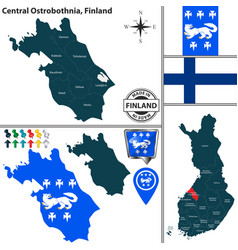 map of central ostrobothnia finland vector image