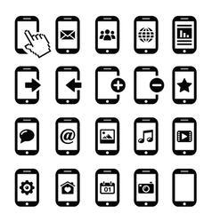 Mobile or cell phone smartphone contact icons vector image