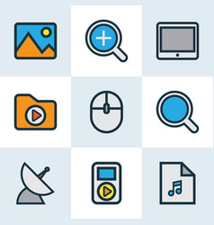 multimedia icons colored line set with computer vector image