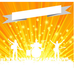 music band silhouette with banner on star burst vector image