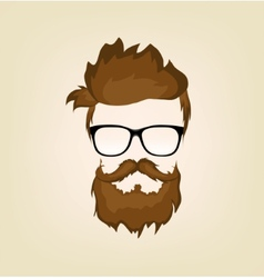 Mustache beard glasses hairstyle vector