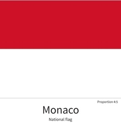 National flag of Monaco with correct proportions vector image