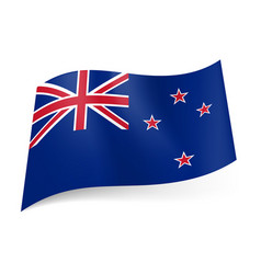 National flag of new zealand union jack and four vector