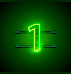 neon city font sign number 1 signboard one vector image