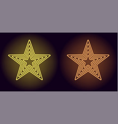 Neon yellow and orange star vector