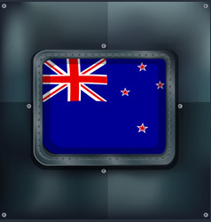 New zealand flag on sqaure frame vector