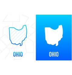 Ohio - us state contour line in white and blue vector