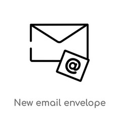 Outline new email envelope icon isolated black vector