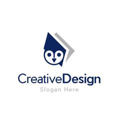 Owl book education creative business logo vector