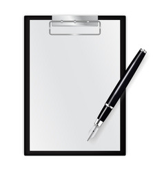 Paper journal blank note pad with ink pen vector