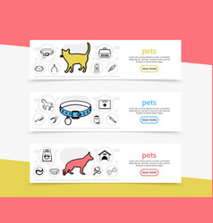 pets horizontal banners vector image