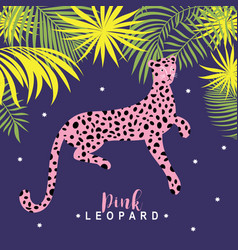 pink leopard on violet background illu vector image