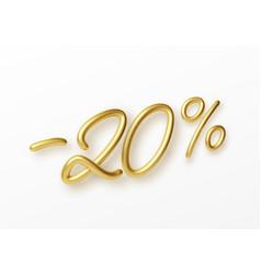 Realistic golden text 20 percent discount number vector