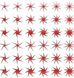 Red asymmetric star shape set vector